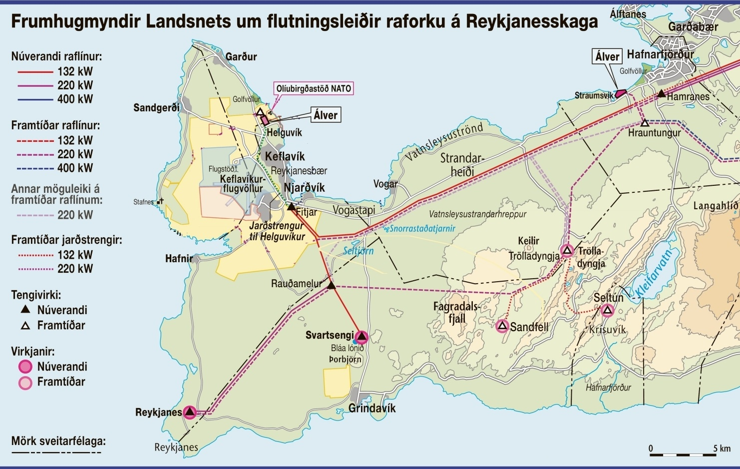 Frumhugmyndir að virkjunum og hugsanlegum línuleiðum. Myndin er unnin uppúr mynd sem birtist í Morgunblaðinu 13. febrúar 2007.