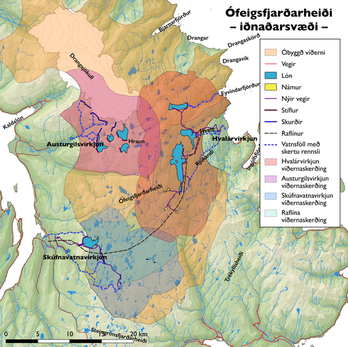 Kort af Ófeigsfjarðarheiði