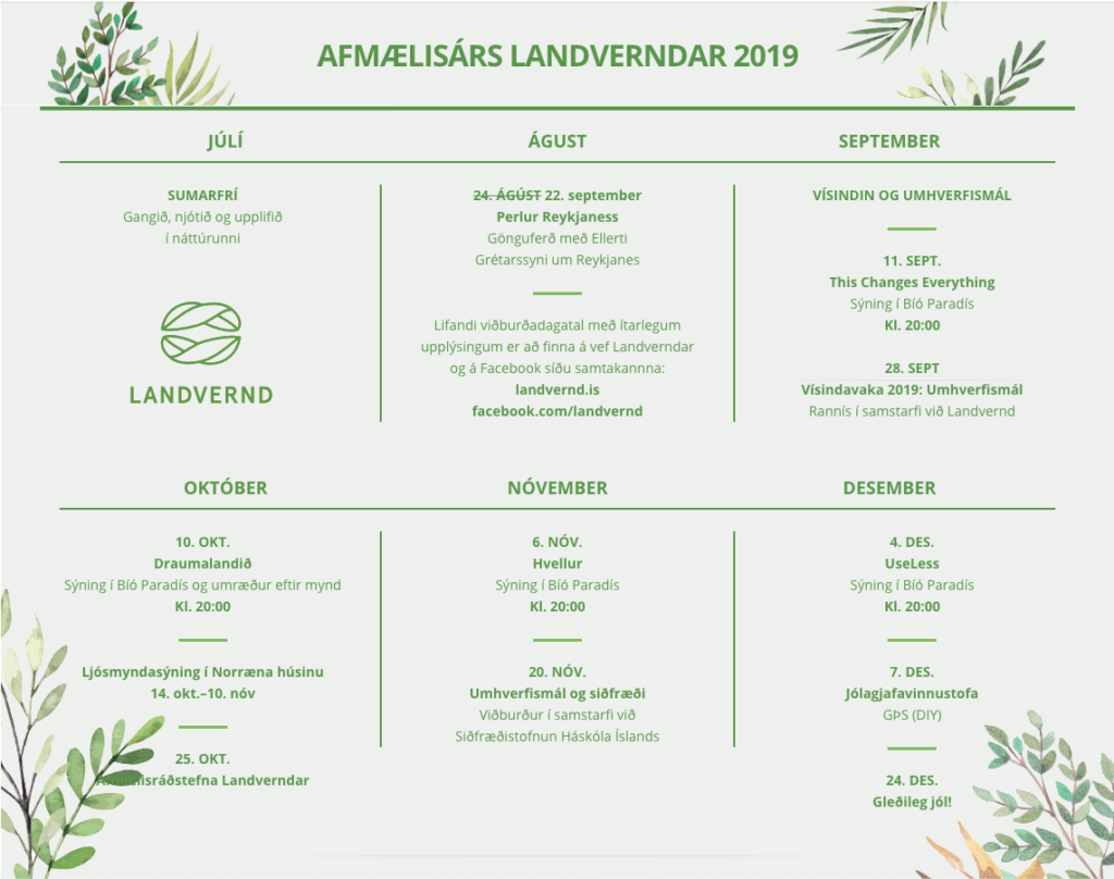 Afmælisviðburðir Landverndar 2019, landvernd.is