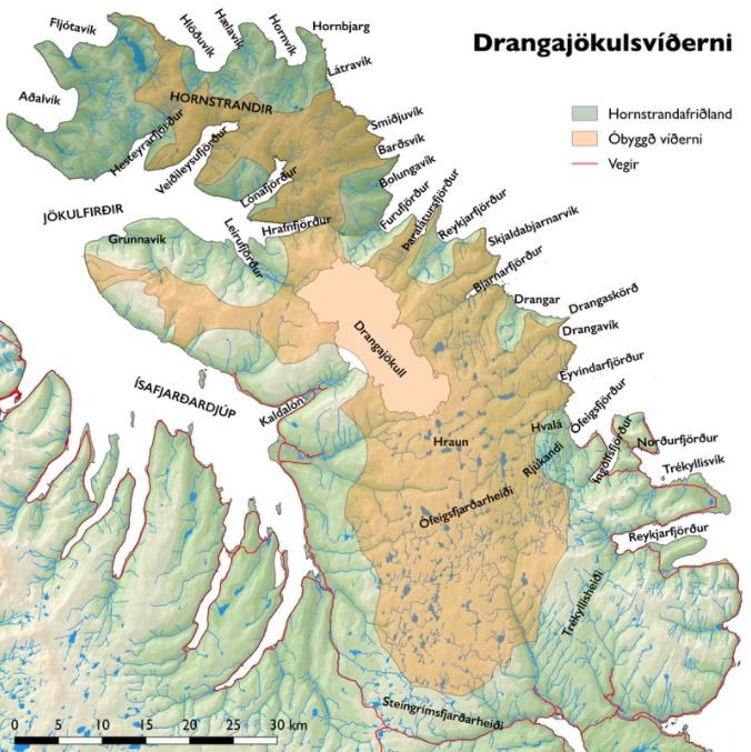 Kort 1. Drangajökulsvíðerni, landvernd.is