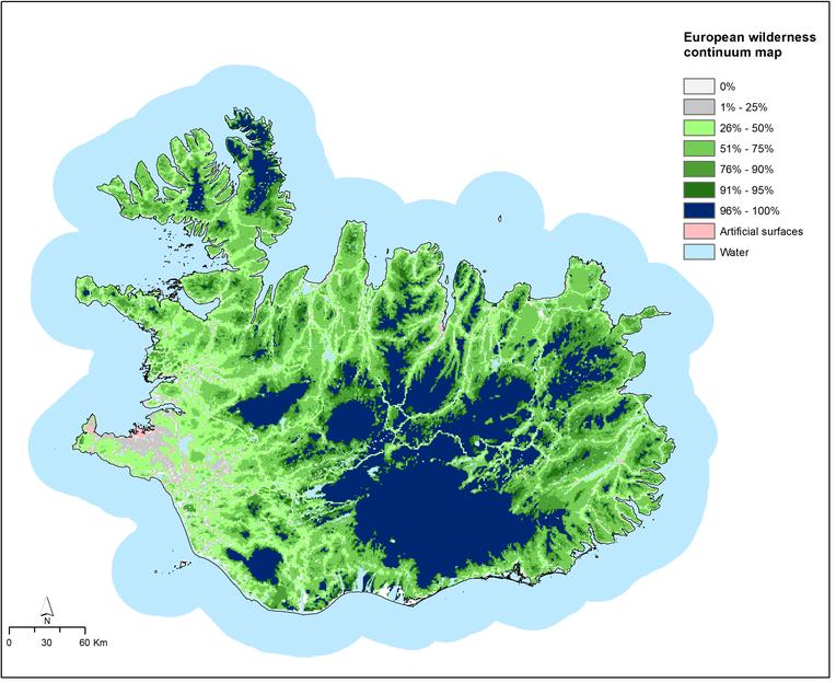 Kort 3a. Víðerni Íslands miðað við Evrópu.