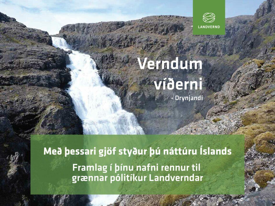 Verndum víðerni, gefðu gjafabréf Landverndar og styrktu baráttu fyrir verndun víðerna, landvernd.is