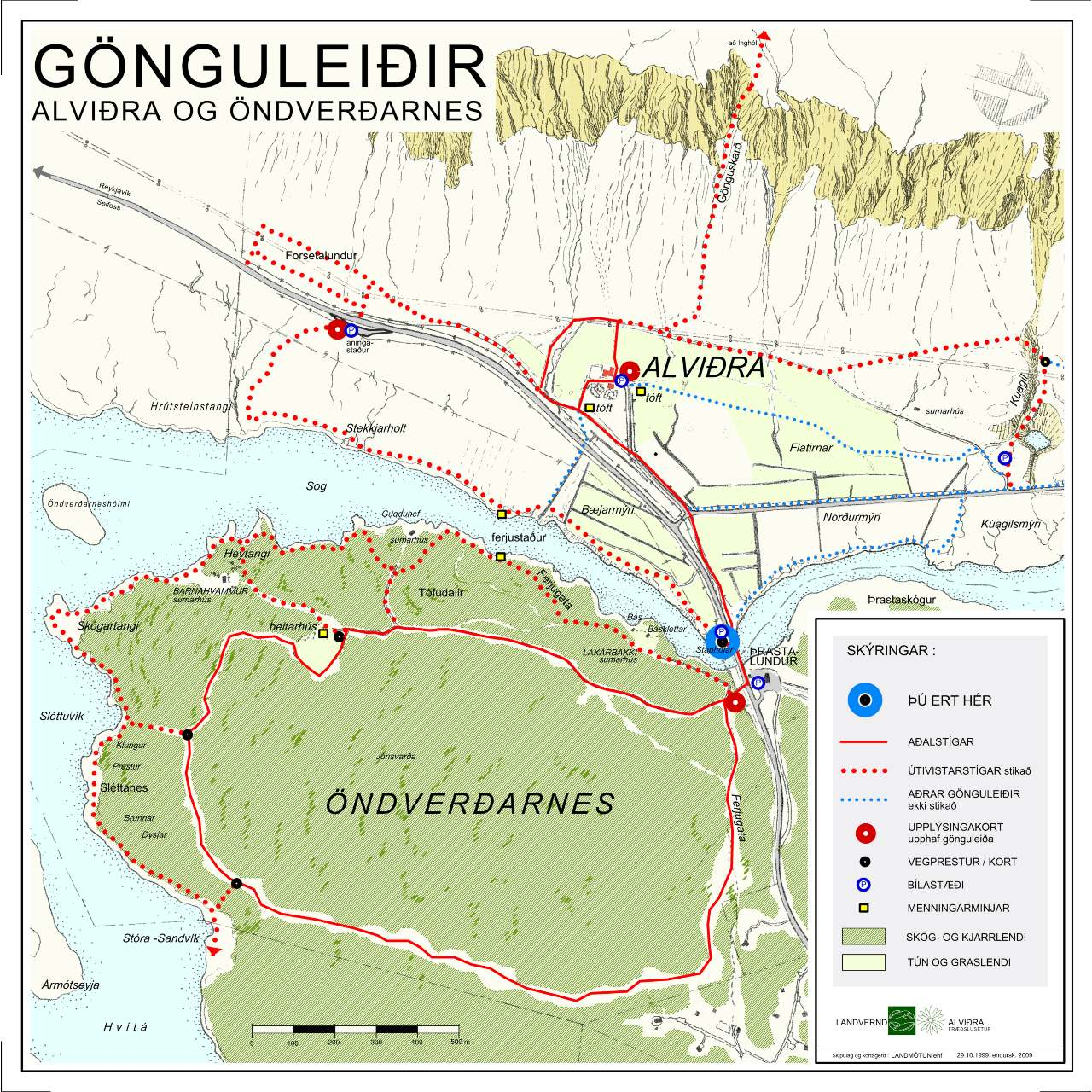 Göngukort, kort yfir gönguleiðir í Alviðru, landvernd.is