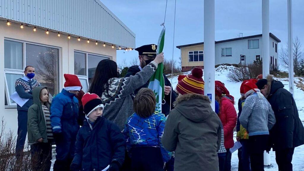 Forseti Íslands, Guðni Th Jóhannesson ávarpaði nemendur á afhendingu grænfánans 2020